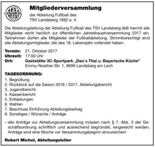 einladungsschreiben - tsv 1882 landsberg am lech e.v. - fußball, Einladung